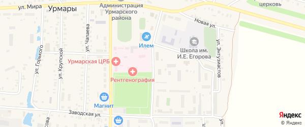 Молодежная улица на карте поселка Урмары с номерами домов