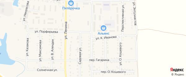 Улица К.Иванова на карте поселка Урмары с номерами домов