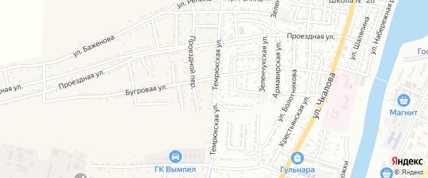 Темрюкская улица на карте Астрахани с номерами домов