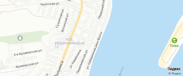 Первомайская улица на карте Астрахани с номерами домов