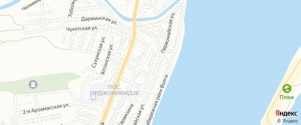 Улица Лебедева на карте Астрахани с номерами домов
