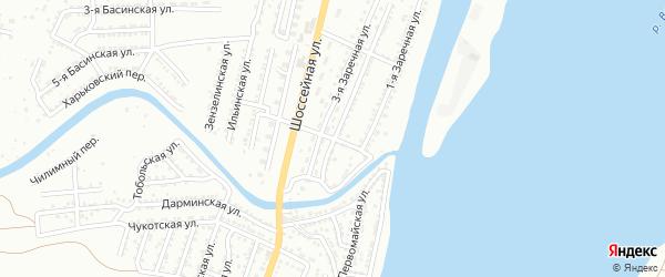 Витебский переулок на карте Астрахани с номерами домов
