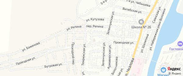Пластуновский переулок на карте Астрахани с номерами домов
