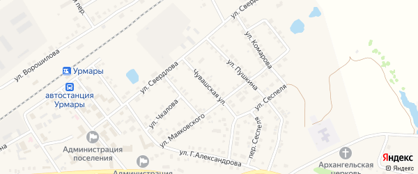 Чувашская улица на карте поселка Урмары с номерами домов
