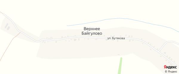Улица Бутякова на карте деревни Верхнее Байгулово с номерами домов