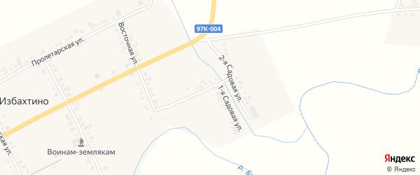 Садовая 1-я улица на карте деревни Избахтино с номерами домов