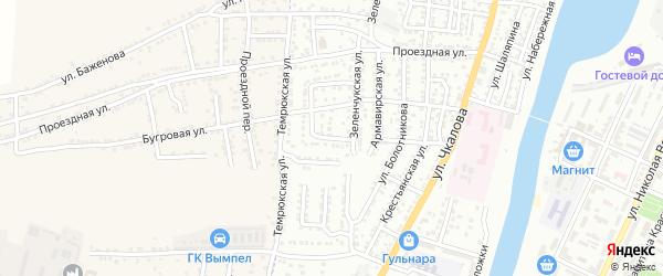 Зеленчукский переулок на карте Астрахани с номерами домов