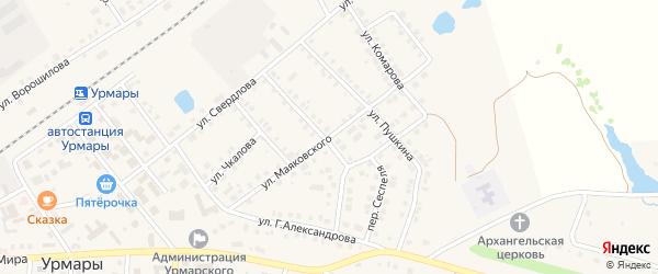 Улица Маяковского на карте поселка Урмары с номерами домов