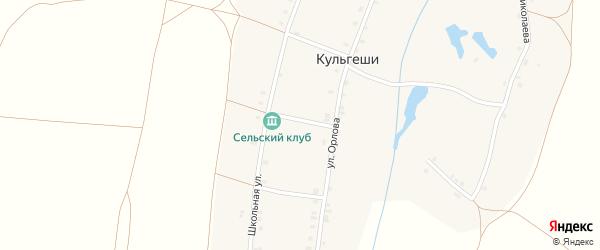 Зеленая улица на карте деревни Кульгеши с номерами домов
