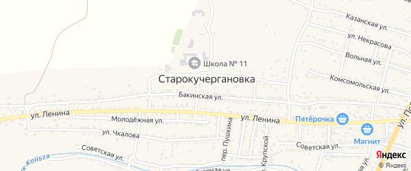 Окольная улица на карте села Старокучергановка с номерами домов