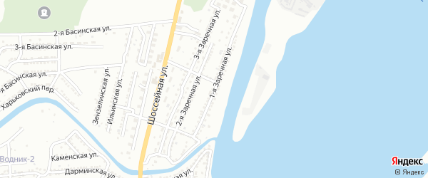 Заречная 1-я улица на карте Астрахани с номерами домов