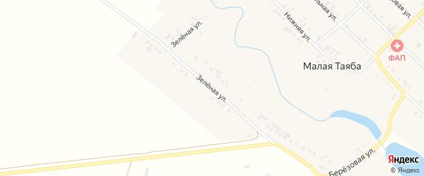 Зеленая улица на карте деревни Малой Таяба с номерами домов
