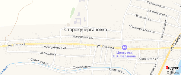 Бакинская улица на карте села Старокучергановка с номерами домов