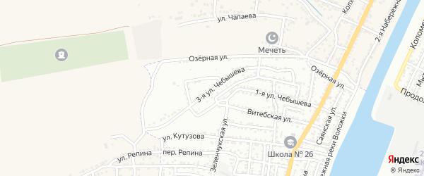 Чебышева 3-я улица на карте Астрахани с номерами домов