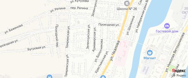 Армавирская улица на карте Астрахани с номерами домов
