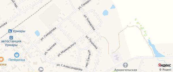 Улица Пушкина на карте поселка Урмары с номерами домов