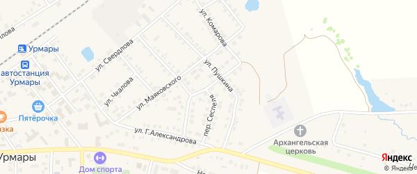 Улица Сеспеля на карте поселка Урмары с номерами домов