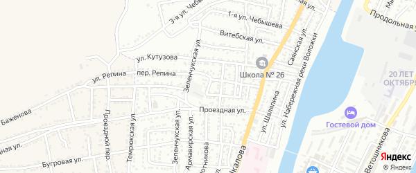 Горный переулок на карте Астрахани с номерами домов