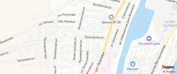 Проездная улица на карте Астрахани с номерами домов