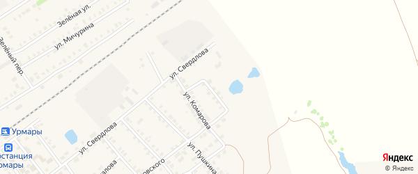 Переулок Комарова на карте поселка Урмары с номерами домов
