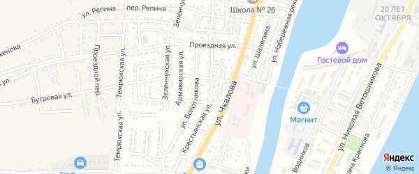 Крестьянская улица на карте Астрахани с номерами домов