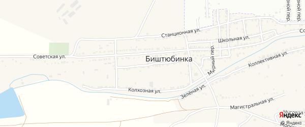 Октябрьская улица на карте села Биштюбинка с номерами домов