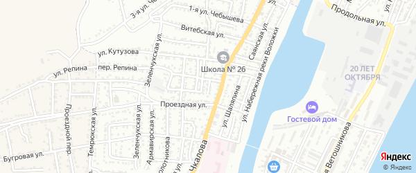 Конечный 2-й переулок на карте Астрахани с номерами домов