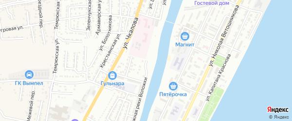 Улица Набережная реки Воложки на карте Астрахани с номерами домов