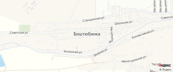 Советский переулок на карте села Биштюбинка с номерами домов