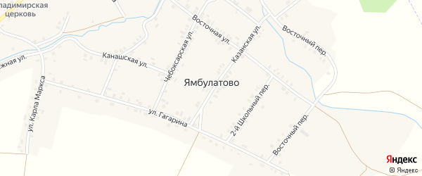 Восточная улица на карте деревни Ямбулатово с номерами домов