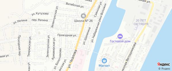 Улица Шаляпина на карте Астрахани с номерами домов