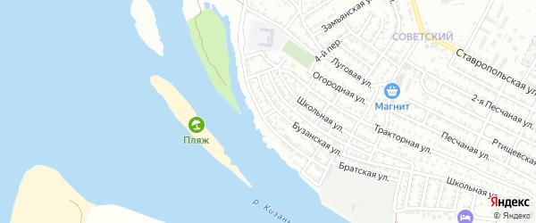 Песчаный 3-й переулок на карте Астрахани с номерами домов