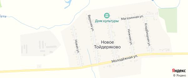 Верхняя улица на карте деревни Новое Тойдеряково с номерами домов