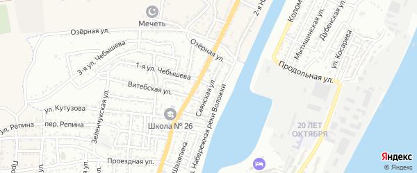 Саянская улица на карте Астрахани с номерами домов