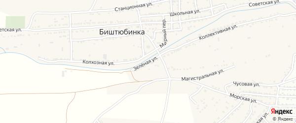 Зеленая улица на карте села Биштюбинка с номерами домов