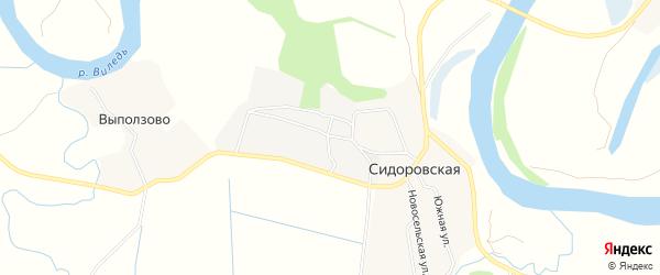 Карта Сидоровской деревни в Архангельской области с улицами и номерами домов