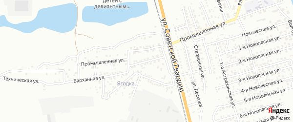 Промышленный переулок на карте Астрахани с номерами домов