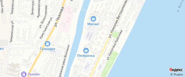 Улица Водников на карте Астрахани с номерами домов