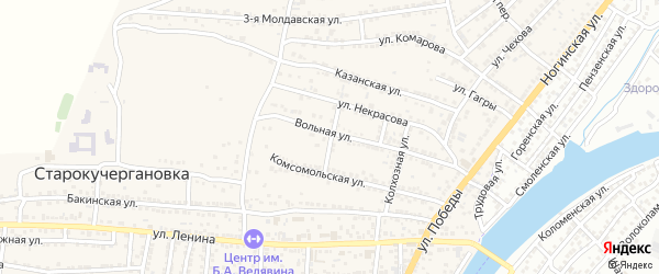 Совхозный переулок на карте села Старокучергановка с номерами домов