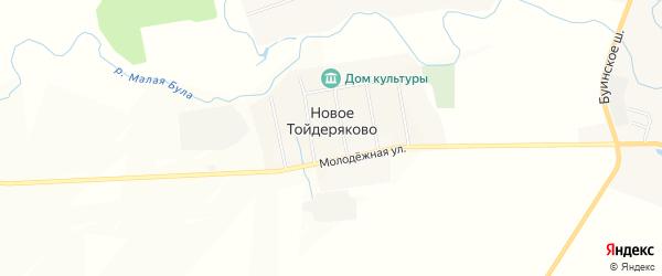Карта деревни Новое Тойдеряково в Чувашии с улицами и номерами домов