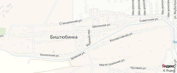 Мирный переулок на карте села Биштюбинка с номерами домов
