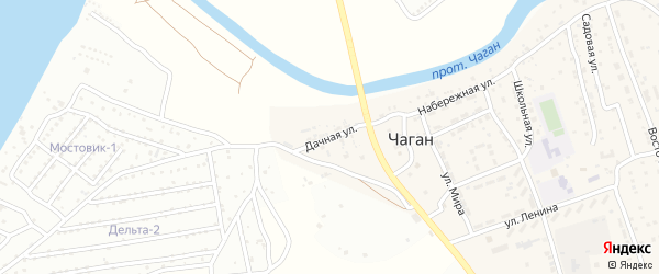 Дачная улица на карте села Чагана с номерами домов