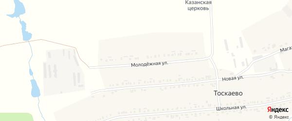 Молодежная улица на карте деревни Тоскаево с номерами домов