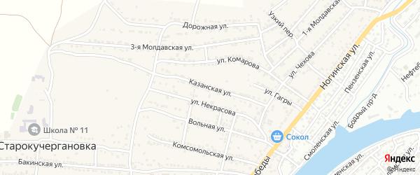 Казанская улица на карте села Старокучергановка с номерами домов
