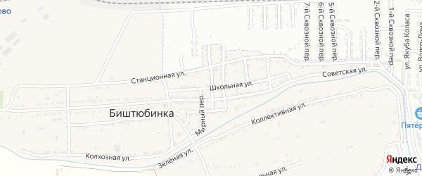 Сквозной переулок на карте села Биштюбинка с номерами домов