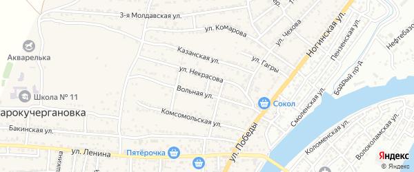 Вольный переулок на карте села Старокучергановка с номерами домов
