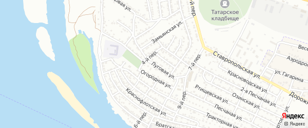 Луговая улица на карте Астрахани с номерами домов