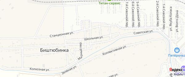 Школьная улица на карте села Биштюбинка с номерами домов