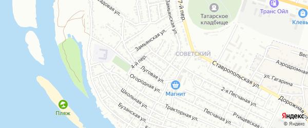 Луговая 1-я улица на карте Астрахани с номерами домов
