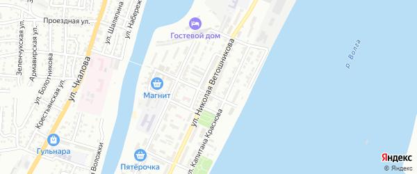 Улица Николая Ветошникова на карте Астрахани с номерами домов
